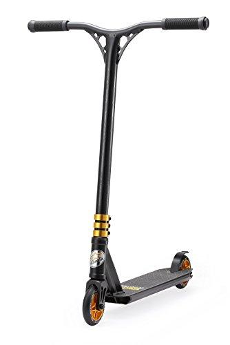 Star-Scooter Pro Sport Freestyle Stunt Scooter Kickscooter Roller für Kinder ab 7 Jahre und Erwachsene 110mm Semi Professional Stuntscooter Alu HIC Kompression Schwarz & Gold