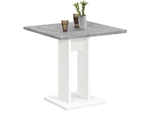 möbelando Esszimmertisch Küchentisch Esstisch Holztisch Speisetisch Tisch Yvette I Weiß/Beton LA