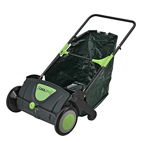 [casa.pro]® Rasenkehrmaschine Laubkehrmaschine 53 cm breit Sammelbeutel 100 L Rasenkehrer Laubkehrer Kehrmaschine