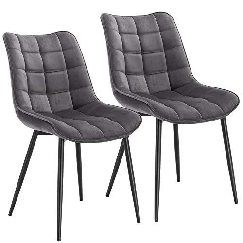 WOLTU® Esszimmerstühle BH142dgr-2 2er Set Küchenstuhl Polsterstuhl Wohnzimmerstuhl Sessel mit Rückenlehne, Sitzfläche aus Samt, Metallbeine, Dunkelgrau