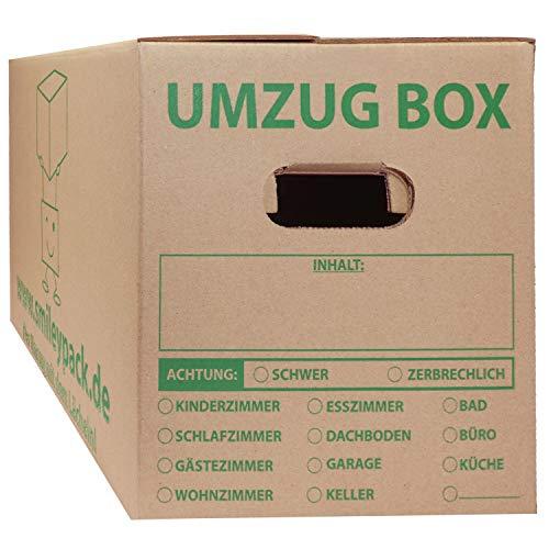 10x Umzugskartons 620 x 300 x 330 mm bis 40 kg 1.40 C-Welle (stabil wie zweiwellige Umzug Kartons) stabil Profi groß stark - 10 Stück - Umzugskiste günstig XXL Umzugskarton