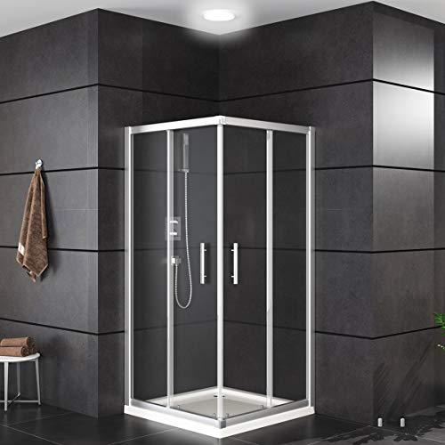 Oimex OT Eckeinstieg Duschkabine ohne Tasse 80x80 oder 90x90, 180 cm mit Verstellbereich, Echtglas, Schiebetüren mit Rollen, Größe: 90 x 90 x 180cm, Farbe: Klar