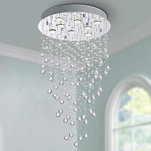 Bestier Moderne Kristall Regentropfen Kronleuchter Beleuchtung Unterputz LED Deckenleuchte Leuchte Pendelleuchte für Esszimmer Badezimmer 8 GU10 LED Birnen Erforderlicher Durchmesser 50cm Höhe 86 cm