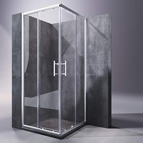 SONNI Duschkabine 90x90x185cm Eckeinstieg Duschabtrennung Doppel Schiebetür Echtglas Duschtür
