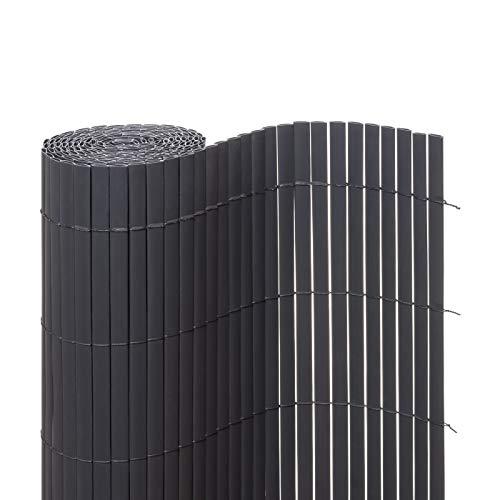 Ventanara Sichtschutzmatte PVC Sichtschutzzaun Sichtschutz Windschutz für Garten Balkon Terrasse (180 x 400 cm, Grau)