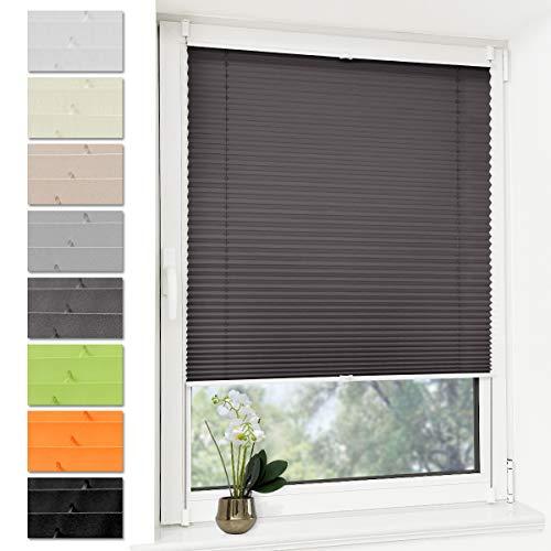 Deswell Plissee Rollo Jalousie ohne Bohren Klemmfix für Fenster & Tür Anthrazit 35 x 120 cm, Plisseerollo Stoff Sonnenschutz leicht zu montieren & Verspannt