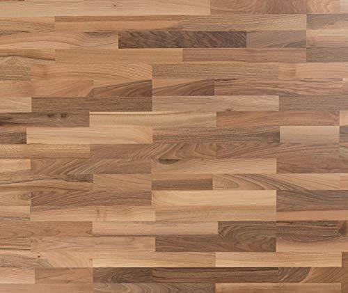 HORI® Klick Parkett 300 Dielenboden Parkettboden Nussbaum europäisch Versailles Schiffsboden lebhaft versiegelt I Nussbaum I 4 Dielen im Paket = 1,46 m²