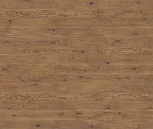 HORI® Klick Parkett 300 Dielenboden Parkettboden Eiche Country goldbraun gebürstet Landhausdiele 1-Stab mit Fase natur-geölt I Eiche I 7 Dielen im Paket = 2,77 m²