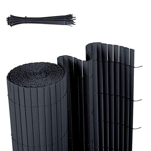 Sekey PVC Sichtschutzmatte Sichtschutzzaun Wetterfest Verstärkt Starke Privatsphäre für Garten, Balkon und Terrasse, mit Strukturierte Oberfläche, mit Kabelbindern, 100 x 500 cm, Anthrazit