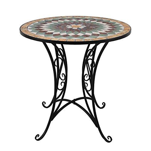 Wohaga® Mosaik Gartentisch rund Ø70cm Mosaiktisch Beistelltisch Bistrotisch Balkontisch