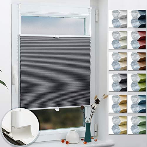 Grandekor Wabenplissee Klemmfix Verdunkelung Thermo Zweifarbig 70x140cm (BxH) Weiß-Grau/Honeycomb Plisseerollo ohne Bohren für Fenster & Tür, Sonnen-, Sicht- & Schallschutz Wärmeisolierung