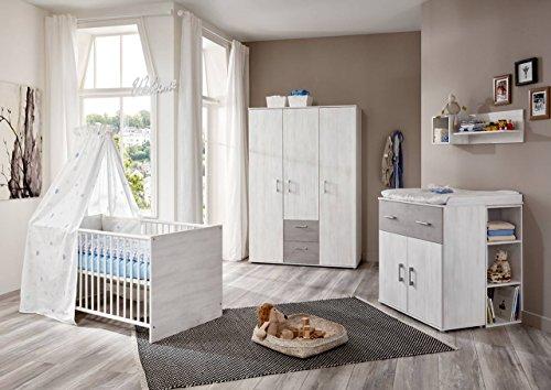 lifestyle4living Babyzimmer Komplettset für Jungen und Mädchen, Weiß, 4-teilig | Babybett 70x140 cm, Wickelkommode, Kleiderschrank | Modernes Baby Kinderzimmer