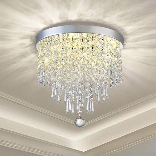 DLLT Modern Kronleuchter Kristall K9 mit Elegantem Design, Rund Acryl, 3 Lampenfassungen, Schöne Kristall Deckenleuchte für Flur, Wohnzimmer, Schlafzimmer, Esszimmer, Hotel, Restaurant