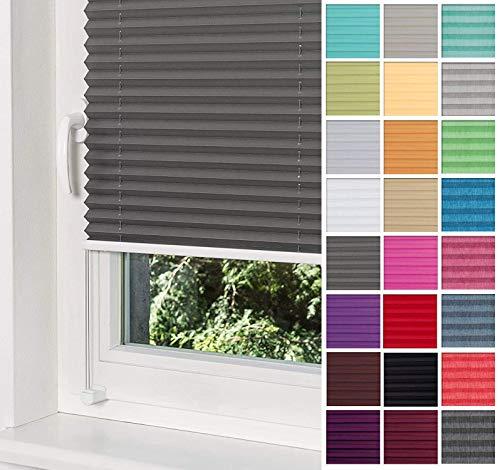 Home-Vision® Premium Plissee Faltrollo ohne Bohren mit Klemmträger / -fix (Graphit, B75cm x H150cm) Blickdicht Sonnenschutz Jalousie für Fenster & Tür