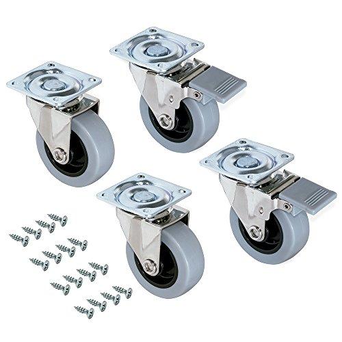 Emuca - Set aus 4 Lenkrollen für Möbel Ø50mm mit Anschraubplatte und Kugellager, schwenkrollen gummi aus grau Farbe